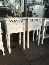 Pair of Shabby Chic Bedside Tables - White