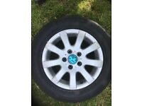 """Set of 4 15"""" vw alloy wheels and tyres"""