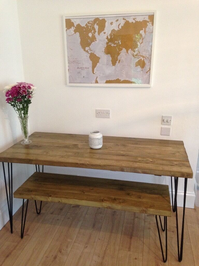 Handmade rustic oak industrial upcyled hairpin leg dining table