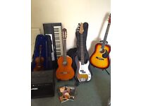 Various Musical Instruments and Accessories