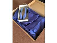 Size 16/18 blue/purple silk bridesmaid dress. Size 6.5 silk shoes