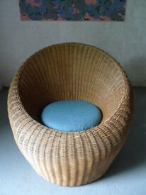 Vintage Wicker Tub Chair with Cushion ATTR Isamu Kenmochi