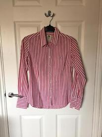 Crew clothing ladies pink & white stripe slim fit shirt size 8