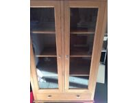 oak/glass display cabinet