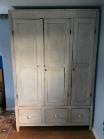Solid Pine limed finished wardrobe