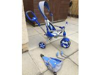 Little tykes kids trike with removable handle, hood, rucksack and leg stands with foldaway pedals