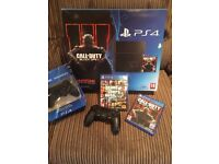 PS4 500GB - Comes with COD Black Ops 3/GTA 5/2 Controllers/All leads
