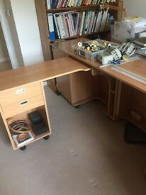 Horn sewing machine table. Hardly used. Extends to 2.5m. Plenty of storage.