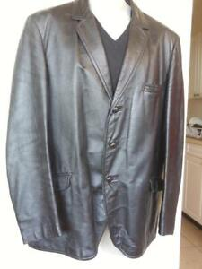 Oakville 42R MENS L Large LEATHER JACKET Black Cowhide Made in Canada Retro Slim Vintage Fall Coat Blazer Real Montreal