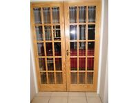 Internal wood and glass doors, immediate collection available. Price is for both doors.