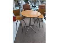 High Circular Table With 2 Swivel Chairs By Chair Company Great Condition