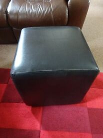 Black Faux Leather Cube Stool contemporary furniture RRP £60 selling for £10