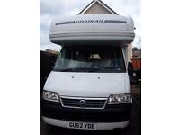 2003 motorhome dakota diesel 2800cc manual right hand drive fwd with 5 travelling seats 4 berth