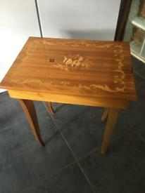 VINTAGE MARQUETRY TOP MUSICAL TABLE - CAN DELIVER