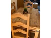 Dining table and 6 high backed chairs