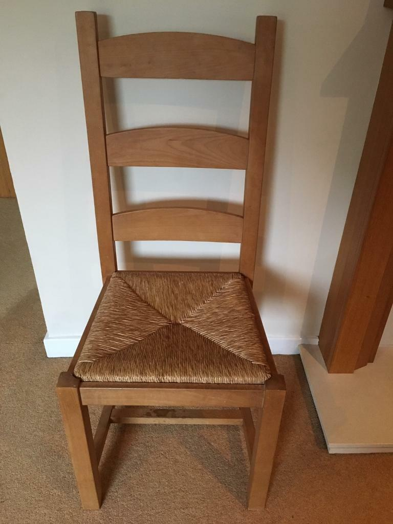 4 X Wooden Chairs With Woven Seats In Colinton Edinburgh Gumtree