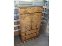Antiqoe Bur Walnut Cabinate 1940s Vinage Looks Stunning FREE local Delivery
