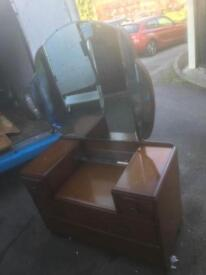 VINTAGE DRESSING TABLE WITH MIRROR SHABBY CHIC PROJECT ** FREE DELIVERY IS AVAILABLE **