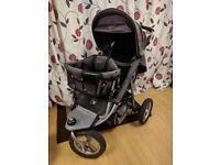 Double seat Valco Baby Tri Mode jogging pram buggy stroller all terrain w/ rain protection Twin kids