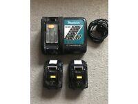 Makita Charger & 2 BL1840B 4 AH Batteries.
