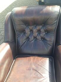 Single chocolate brown leather chair