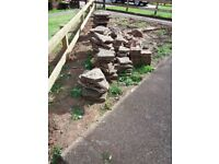 Old concrete slabs and bricks. Free.