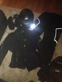 x2 helmets x2 padded coats x2 padded trousers all excellent condition