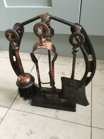 retro fireside set, tools for fireplace on stand