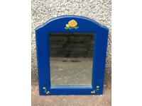 CUTE BLUE PAINTED FLORAL BARGE ART WOODEN CURVED TOP MIRROR