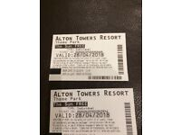 ALTON TOWERS TICKETS 28/4/18