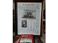 """Framed """"Titanic"""" New York Times Broadsheet"""