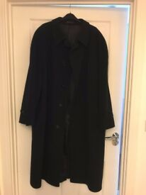 Mens black full length BHS Wool and Cashmere Coat Size 44 chest