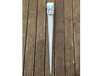 Metal stake for fence post.