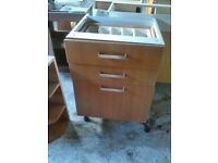 Kitchen units drawer unit double wall glass doors etc