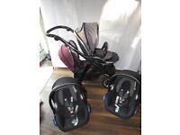 Babystyle Oyster Max 2 Double Travel System pram Pushchair