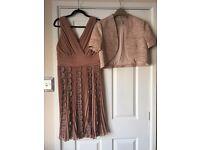 Phase Eight Dress , Planet Bolero Jacket & bespoke hat all neutral colours