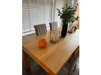 Oak furniture land dining table for 6 plus 4 chairs