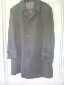 Charcoal grey overcoat.