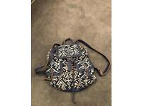 Blue and white Aztec rucksack