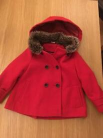 Girls winter hooded coat. 18 Months - 2 Years.