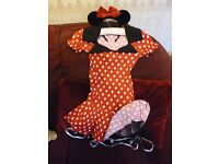Minnie Mouse fancy dress with ears and bow Fits ladies size 8 - 10 - Shipley