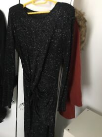 River island glittery party dress & leather jacket