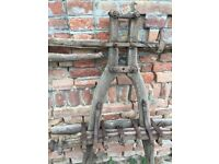 Primitive Wooden Horse, Donkey Cart Pulley Farmhouse Garden Rustic Decor Solid