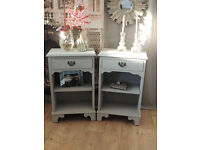 Shabby chic pair of bedside tables by Eclectivo