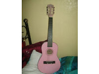 acoustic guitar, pink Music Alley guitar