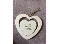 Wooden hanging heart