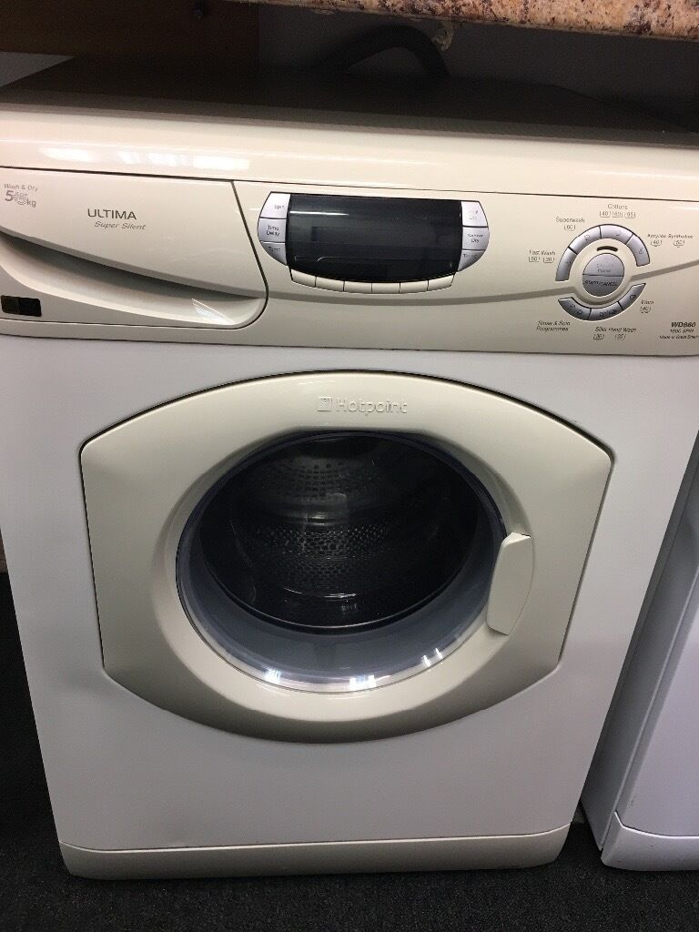 HOTPOINT 5+5KG DIGITAL SCREEN WASHER/DRYER IN OFF WHITE