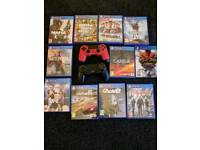 ps4 1T 1 black/ 1 Red controller and 11 games