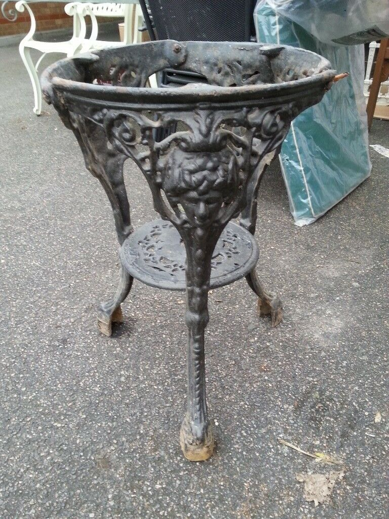 Victorian Cast Iron Table Original Pub With Marble Top