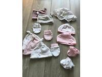 Girls newborn next bundle hats socks mitts